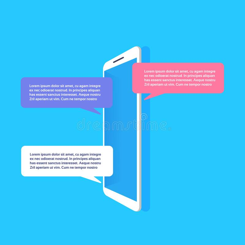 Mobile application chat interface message notifications bubble copy space flat stock illustration