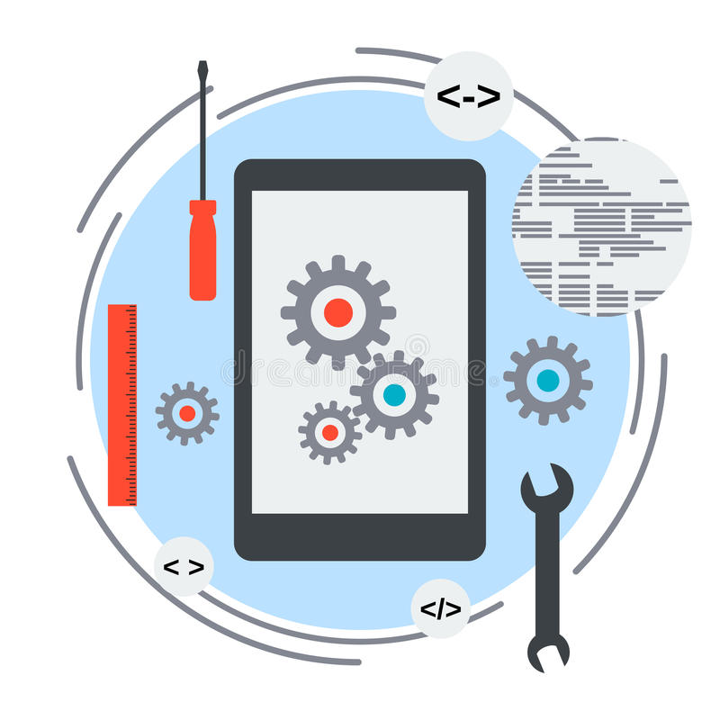 Mobile application development concept stock illustration