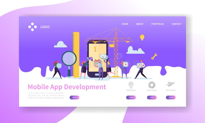 Mobile Application Development Landing Page. Coding Technology with Flat People Characters Website Template stock illustration