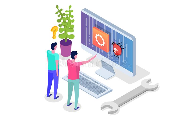 Mobile application development, testing and prototyping process isometric vector. App Interface building vector illustration