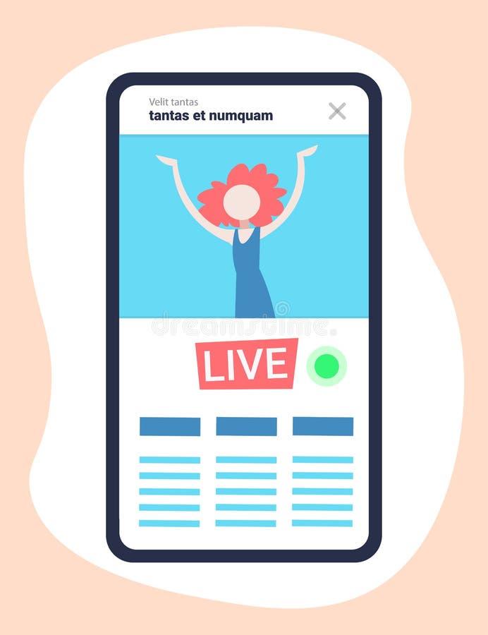 Mobile application girl vlogger channel live streaming video blogger vlog concept flat vertical stock illustration