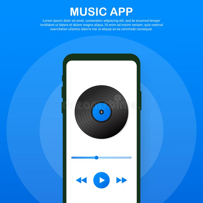 Mobile Application Interface. Music Player. Music app. Vector Illustration. Mobile Application Interface. Music Player. Music app. Vector stock Illustration vector illustration