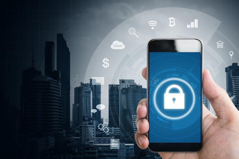 Mobile application and internet online security system. Hand using mobile smart phone with lock and application icons. Mobile application and internet online royalty free stock photo