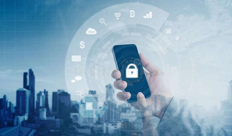 Mobile application and internet online security system. Hand using mobile smart phone with lock and application icons. Mobile application and internet online royalty free stock images