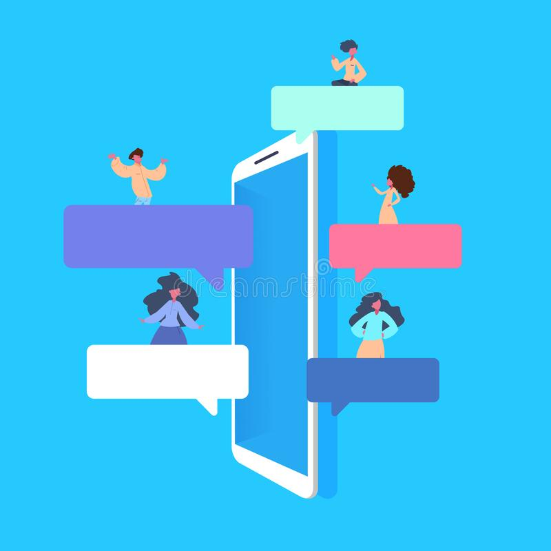 Mobile application people sitting bubbles chat interface message notifications flat blue background stock illustration