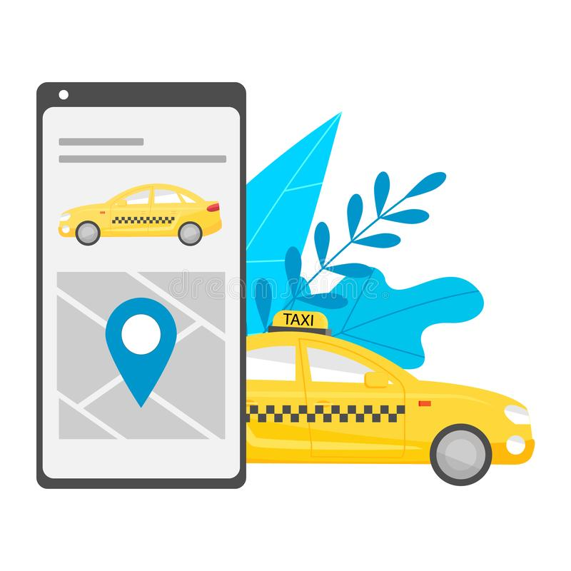Mobile application for searching and calling a city taxi. On the screen of the phone is a map with pin, yellow car cab. Near the stock illustration