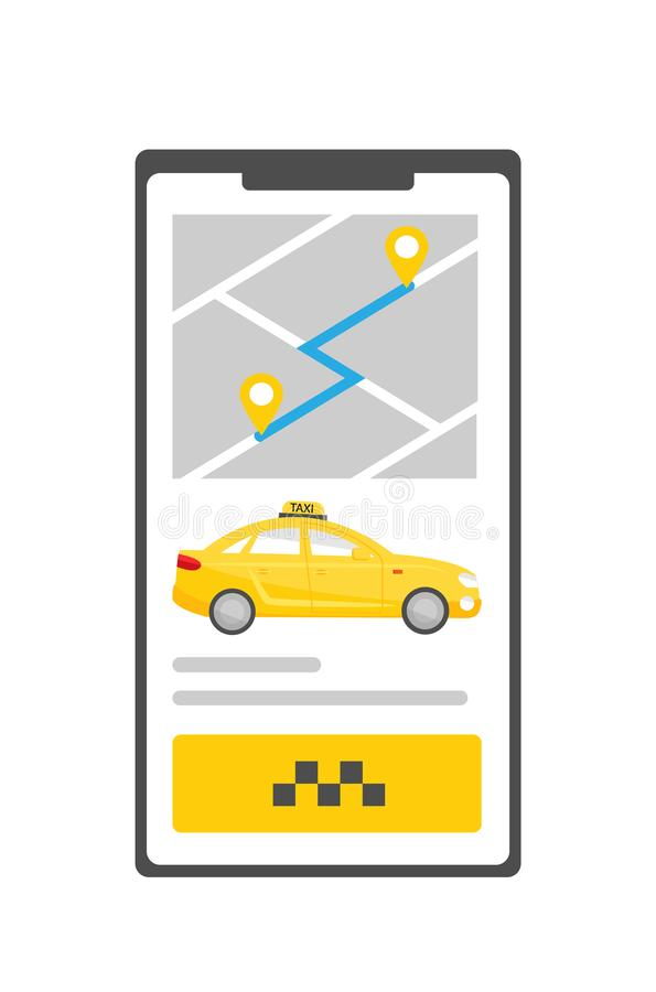 Mobile application for searching and calling a city taxi. On the screen of the phone is a map with pins, driving path vector illustration