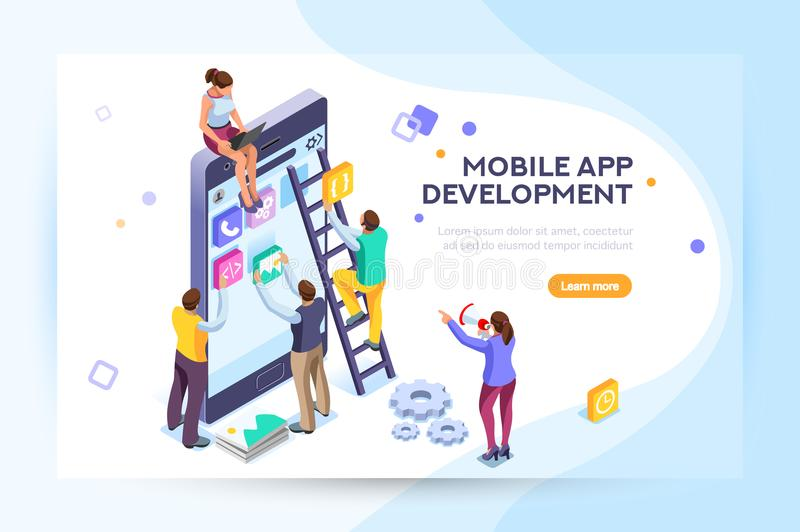 Mobile application user and developers. Mobile application, user and developer group. Can use for web banner, infographics, hero images. Flat isometric people vector illustration