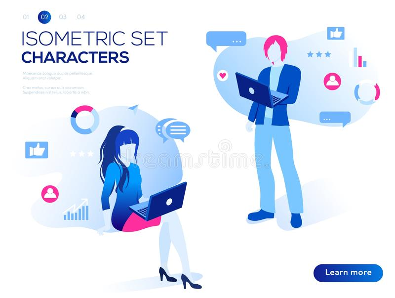Mobile application and website header images on white background. 3D people work Isometric set. Interacting with graphs, icons and devices. Data analysis and stock illustration