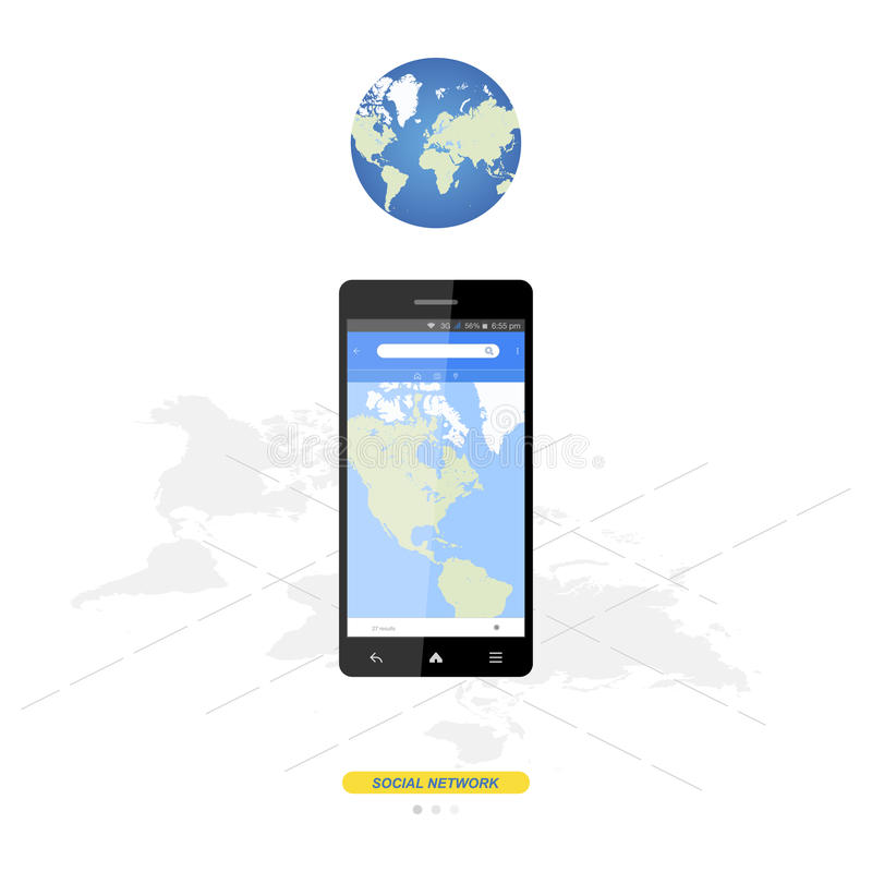 Mobile application with world map for navigation in smartphone download mobile application with world map for navigation in smartphone flat illustration eps 10 stock gumiabroncs Gallery