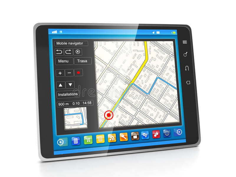 Mobile applications. Applications for Tablet PCs navigation systems vector illustration