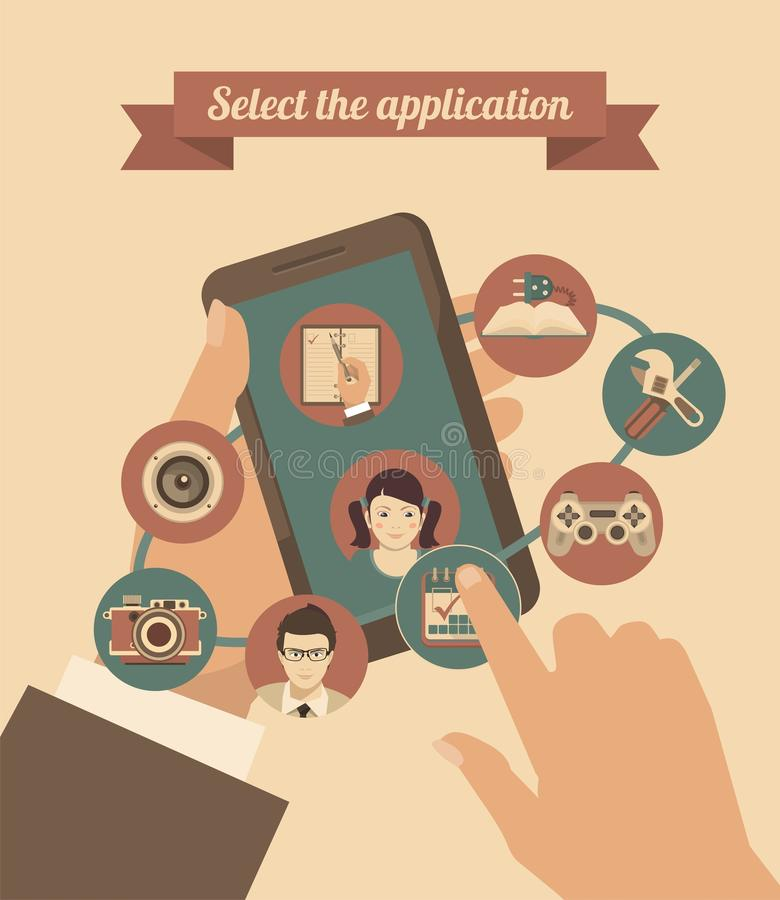Download Mobile Applications stock vector. Illustration of icon - 43423000