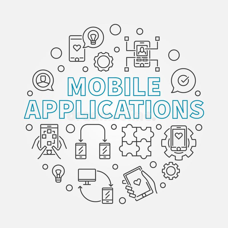 Mobile Applications vector round illustration in thin line style. Mobile Applications vector round concept illustration in thin line style vector illustration