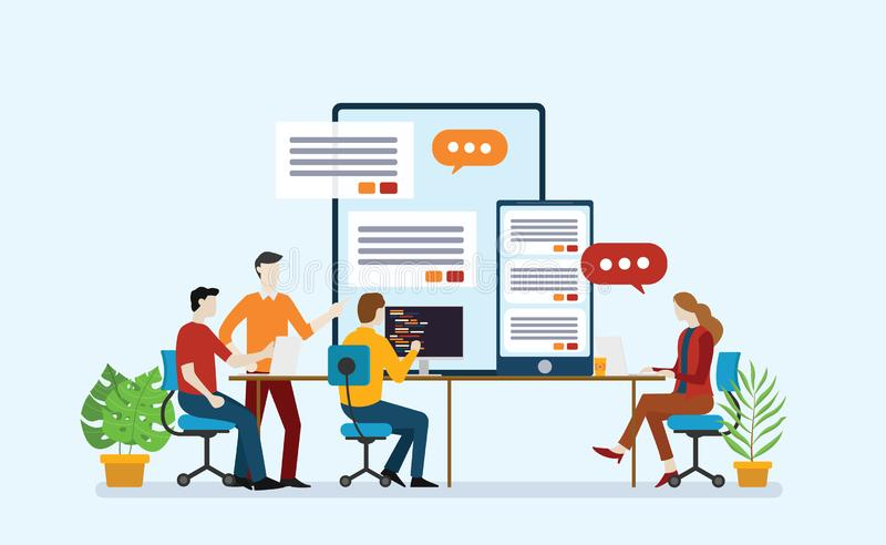 Mobile apps application development with team of startup programmer working together in the office royalty free illustration