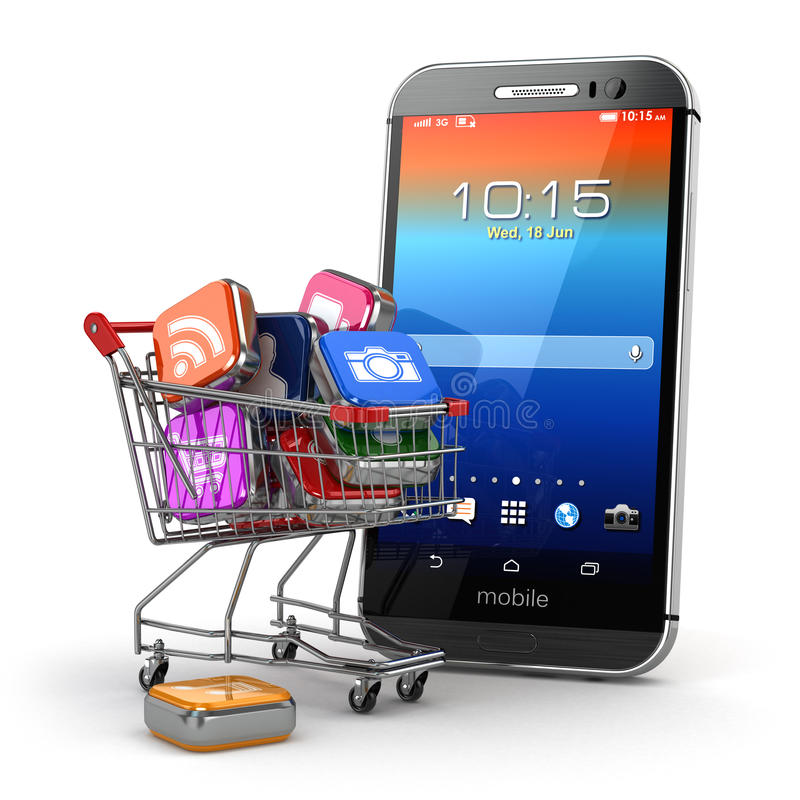 Mobile apps concept. Application software icons in shopping cart. And smartphone. 3d stock illustration