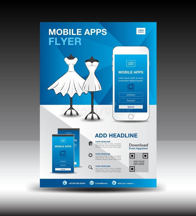 Mobile Apps Flyer template for boutique shop. Business brochure flyer design layout. smartphone icons mockup stock illustration