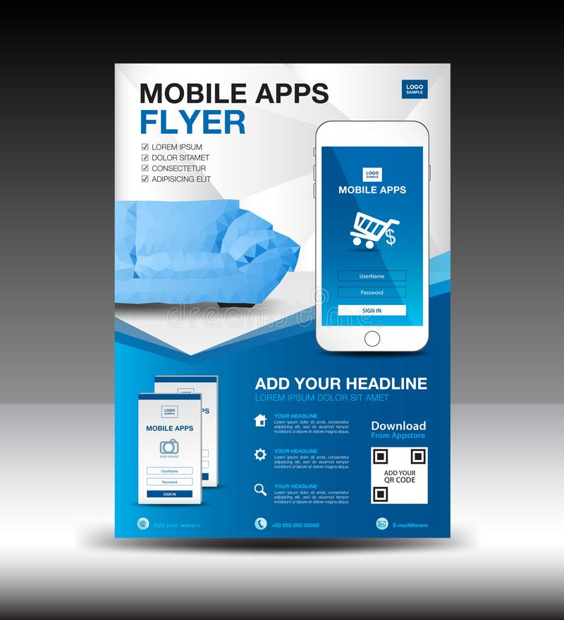Mobile Apps Flyer template. Business brochure flyer design layout. smartphone icon mockup. application presentation. Furniture magazine ads. Blue cover. poster vector illustration