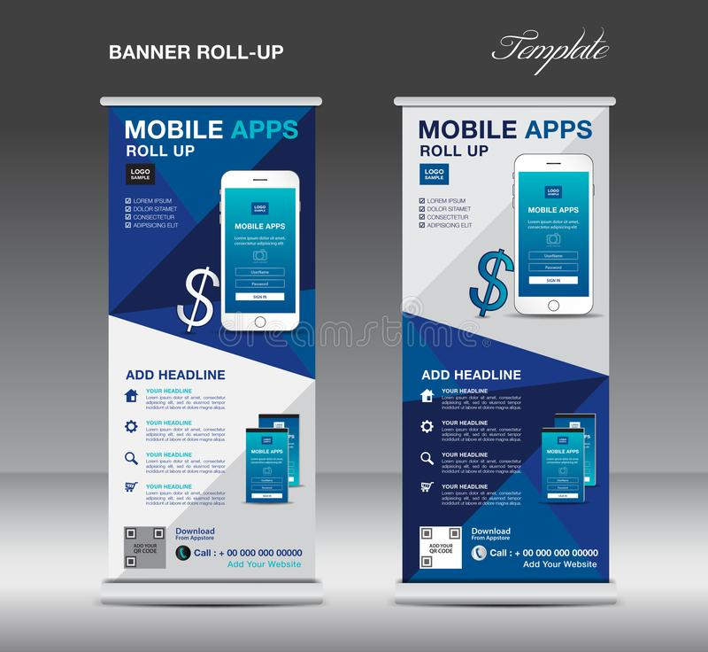 MOBILE APPS Roll up banner template, stand layout, blue banner vector illustration
