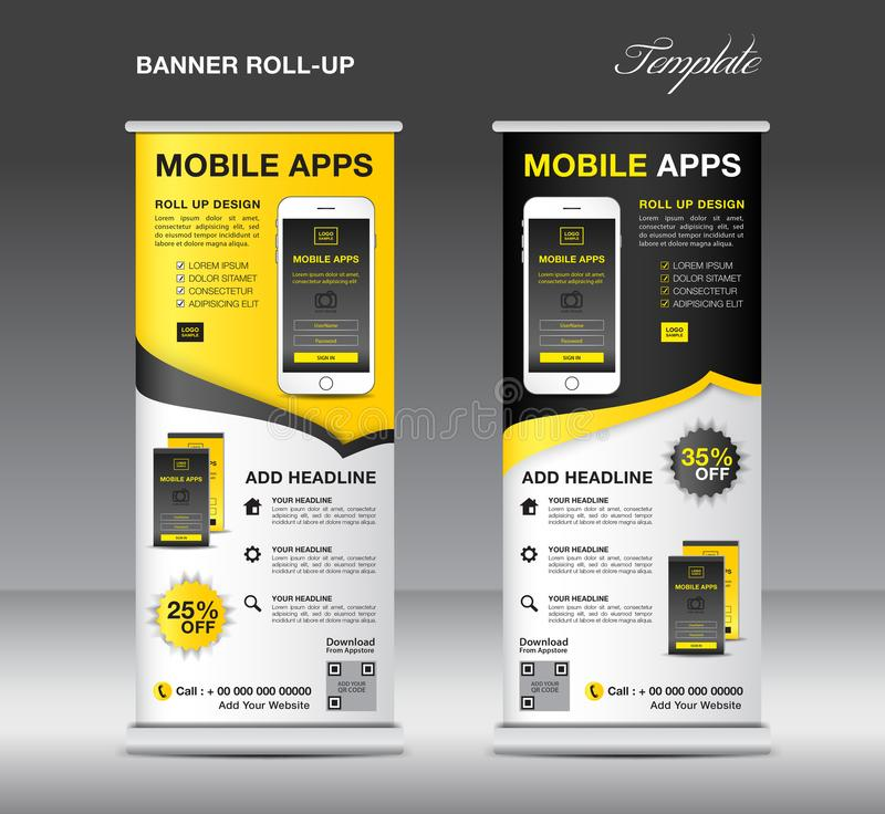 MOBILE APPS Roll up banner template, stand layout, Yellow banner stock illustration