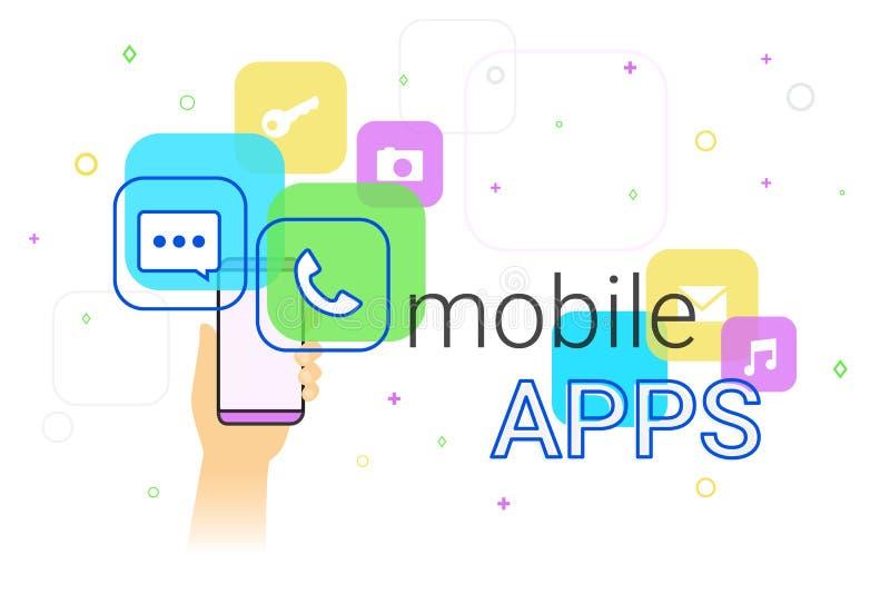 Mobile apps on smartphone royalty free illustration