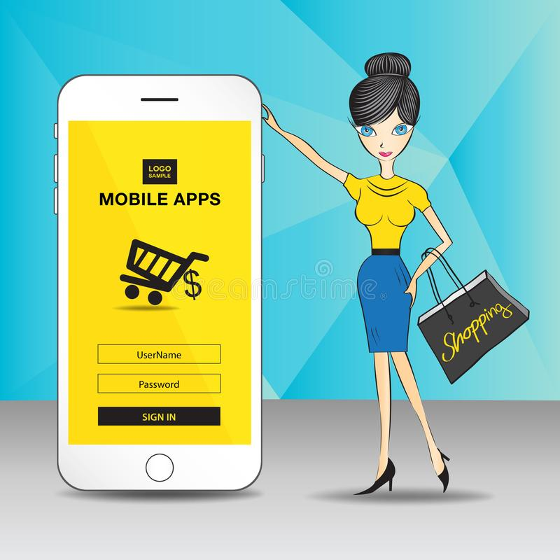 Mobile apps. white Mobile phone with Yellow screen to present your application and Business women shopping stock illustration