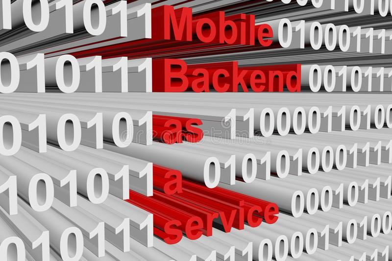 Mobile backend as a service. In the form of binary code, 3D illustration vector illustration