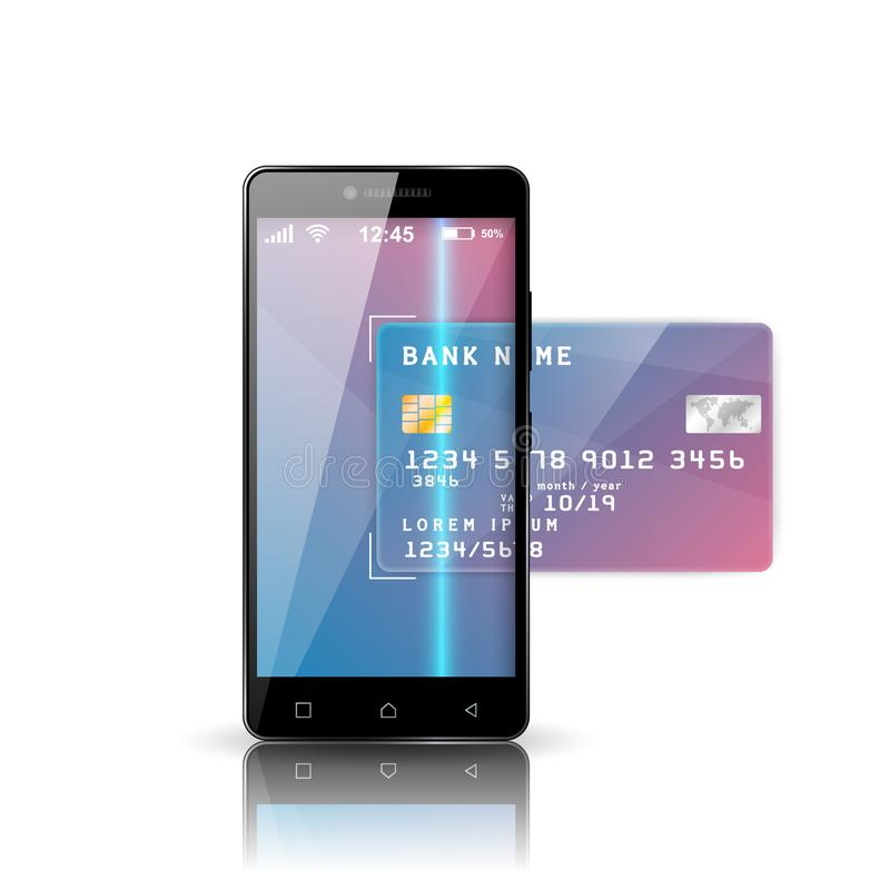 Mobile Bank Illustration. Smartphone, Business Card Icon. Stock ...