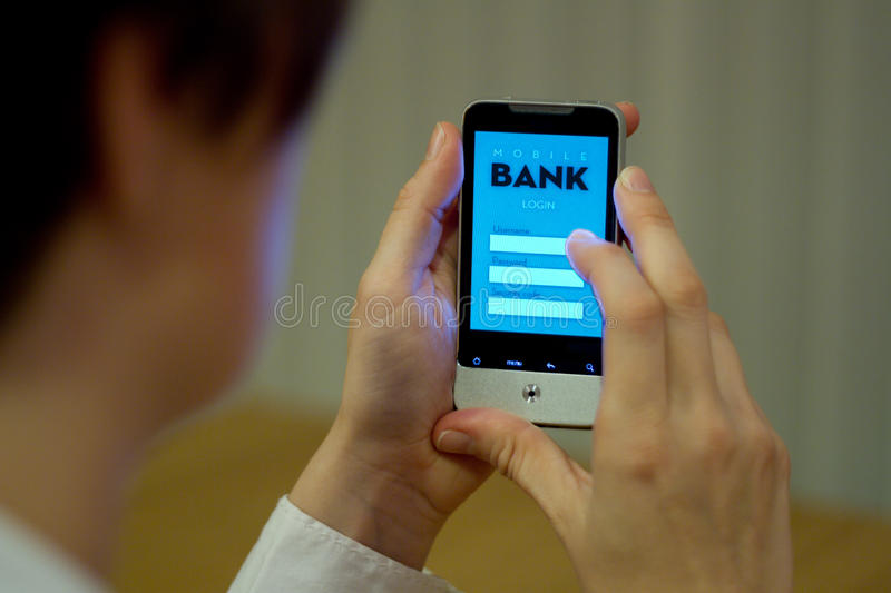 Mobile banking. Female smartphone user accessing mobile banking system