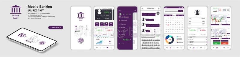 Mobile Banking App, UI, UX, KIT illustration de vecteur