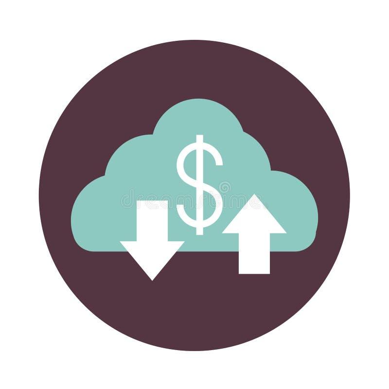 Mobile banking, cloud computing down e upload dell'icona di stile blocco dati illustrazione di stock