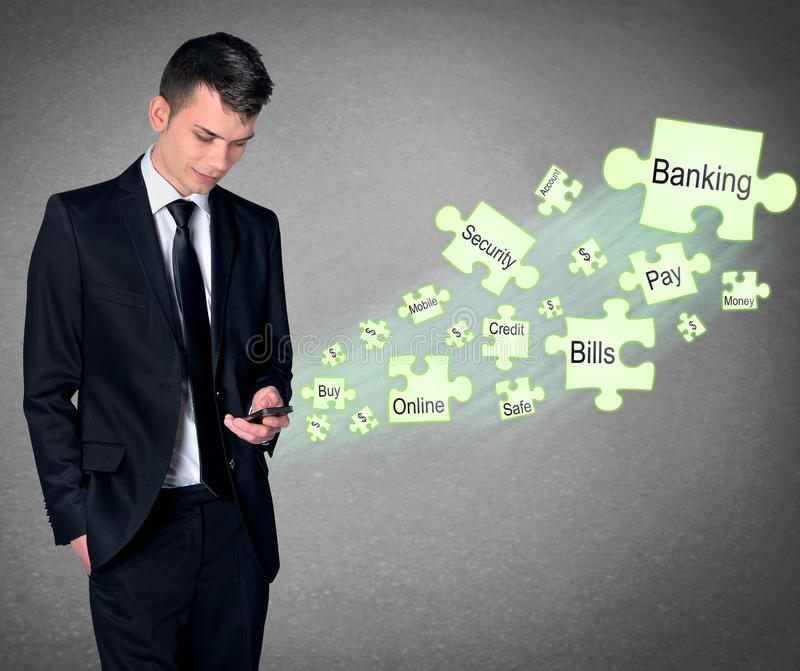 Mobile Banking concept. Business man with smartphone and mobile banking royalty free stock photography