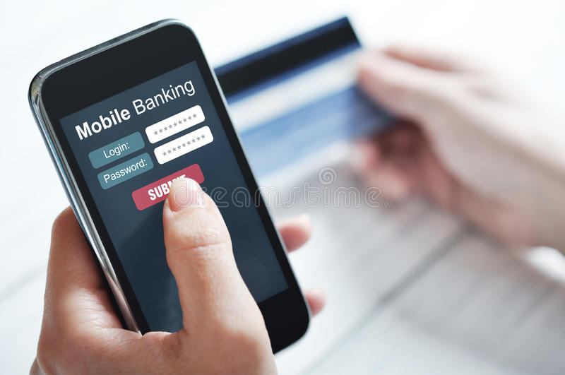 Mobile banking concept. Female hands using mobile banking on smart phone