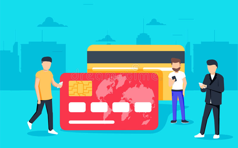Mobile banking concept illustration of people standing near credit cards stock illustration
