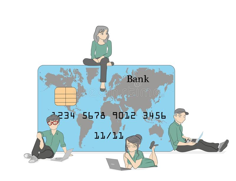 Mobile banking concept illustration of people standing near credit cards and using mobile smart phone for online banking and accou stock illustration
