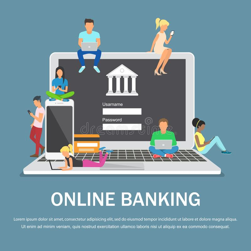 Mobile banking concept illustration of people using laptop and mobile smart phone for online banking. Flat design vector illustration