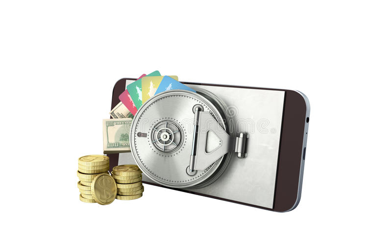 Mobile banking concept mobile phone with money dollar stacks coins and credit cards 3d render on white no shadow stock illustration