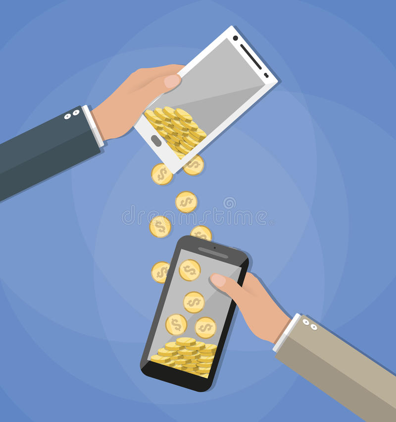 Mobile banking concepts. Mobile banking concpet. People sending and receiving money wireless with their mobile phones. Hands holding smart phones with banking royalty free illustration