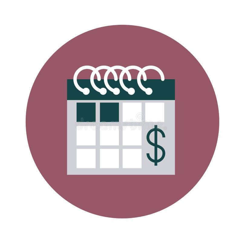 Mobile banking, icona di stile blocco contabile calendario illustrazione di stock