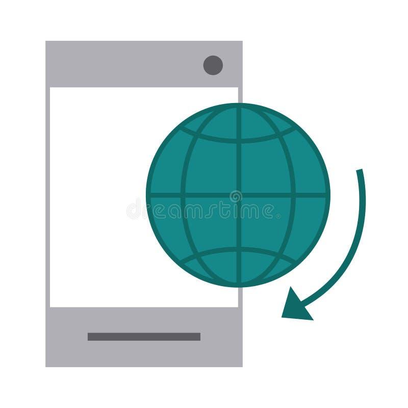 Mobile banking, smartphone world technology flat style icon illustrazione vettoriale