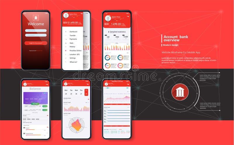 Mobile banking. Template for mobile app stock illustration