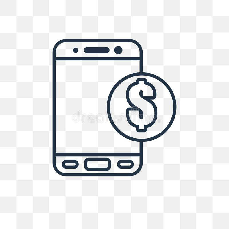 Mobile banking vector icon isolated on transparent background, l vector illustration