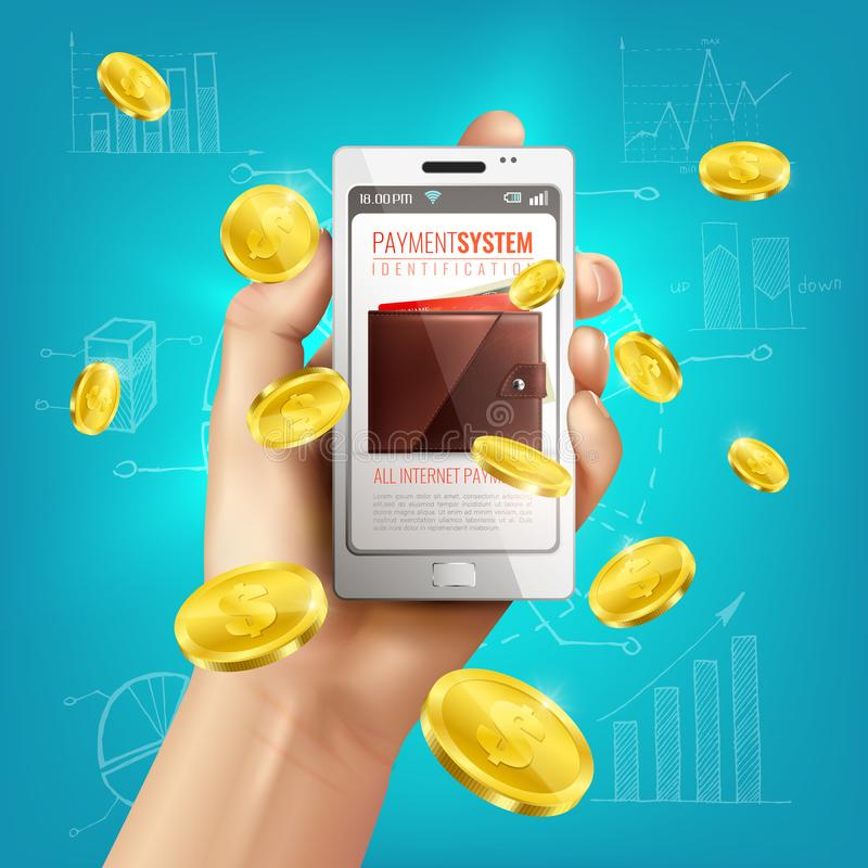 Mobile Banking Wallet Background. Realistic wallet conceptual composition with smartphone in human hand and golden coins with financial sketches background vector illustration