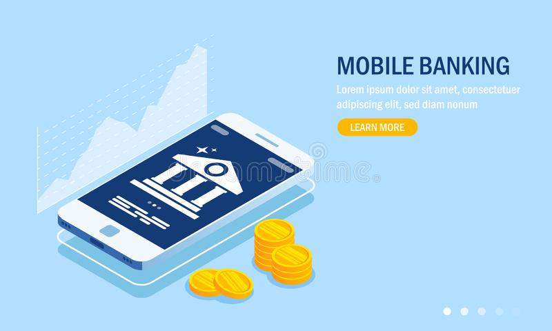 Mobile banking web site template. Currency rate chart. Bank icon on smartphone screen. Gold coins or money. Vector. Illustration in 3d isometric style royalty free illustration