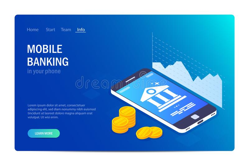 Mobile banking web site template. Currency rate chart. Bank icon on smartphone screen. Gold coins or money. Vector. Illustration in 3d isometric style. Blue royalty free illustration