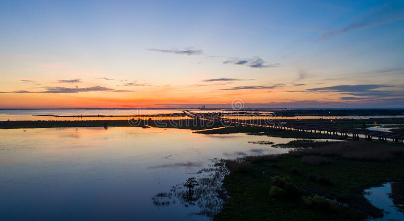 Mobile bay at sunset on the Alabama Gulf Coast stock image
