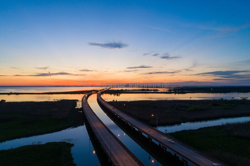 Mobile bay at sunset on the Alabama Gulf Coast royalty free stock images