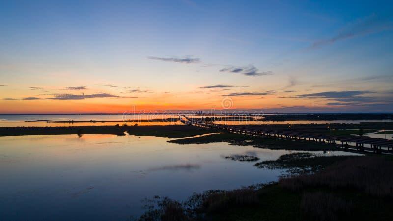 Mobile bay at sunset on the Alabama Gulf Coast royalty free stock image