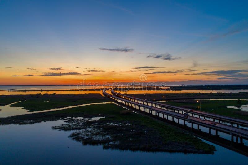 Mobile bay at sunset on the Alabama Gulf Coast stock photos