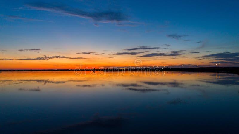 Mobile bay at sunset on the Alabama Gulf Coast royalty free stock photos