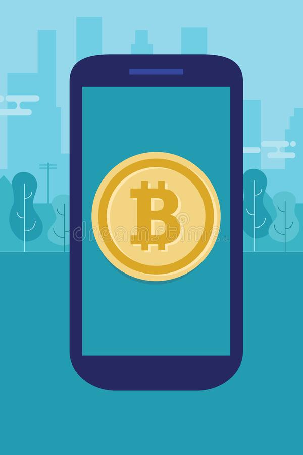 Mobile bitcoin on smart phone modern payment digital technology transaction electronic currency vector illustration
